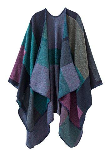 Urban CoCo Women's Color Block Shawl Wrap Open Front Poncho Cape (Series 1-purple)