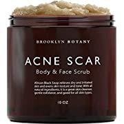 Brooklyn Botany Acne Scar Body Scrub & Face Scrub - Made With African Black Soap Shea Butter & Coconut Oil - Exfoliate & Moisturize, Dry & Irritated Skin - 10 oz