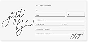 Bliss Collections Small Business Gift Certificates, Pack of 25 Beyond Grateful 4 x 9 Heavyweight Card Stock for Spa, Beauty Makeup or Hair Salon Businesses, Easy to Write On, Great for Holidays