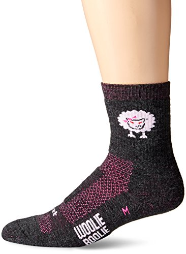 DEFEET Woolie Boolie Baaad Sheep Socks, Charcoal/Neon Pink, Medium