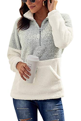 Chase Secret Womens Lightweight Sweatshirt Cozy Warm Fuzzy Fleece Pullover Sweater Loose Fit Soft Outwear Coat Tops M Grey