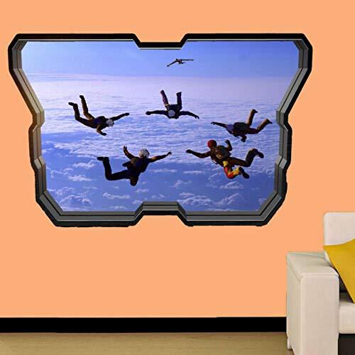 ETIQUETA DE PARED DE PARACAÍDAS DE BUCEO EN EL CIELO EFECTO 3D CARTEL DE ARTE DECORACIÓN MURAL ZT5 Póster Arte 3D Mural 50x70cm