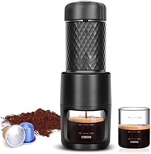 STARESSO Máquina de café espresso manual portátil, compatible con café y cápsula, ideal para camping, senderismo, oficina o casa