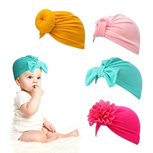 HIFOT baby turban neugeboren 4 Stück, mütze baby mädchen Kleinkinder knoten Hut Haar Bogen haarschmuck fotografie requisiten zubehör