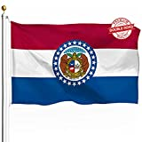 DFLIVE Double Sided Missouri State Flag 3x5ft Heavy Duty 3 Ply Polyester MO State Flags Indoor and Outdoor Use