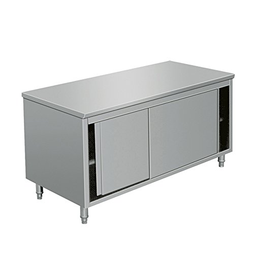 EQ Kitchen Line Stainless Steel Commercial Prep Work Table Sliding Door Storage Cabinet 80 x 28 x 34 inch, silver,