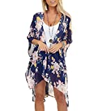 OutTop Swimsuit Cover Ups for Women Elegant Floral Print Split Coverups Kimono Cardigan for Swimwear Bathing Suits (Blue, XXL)