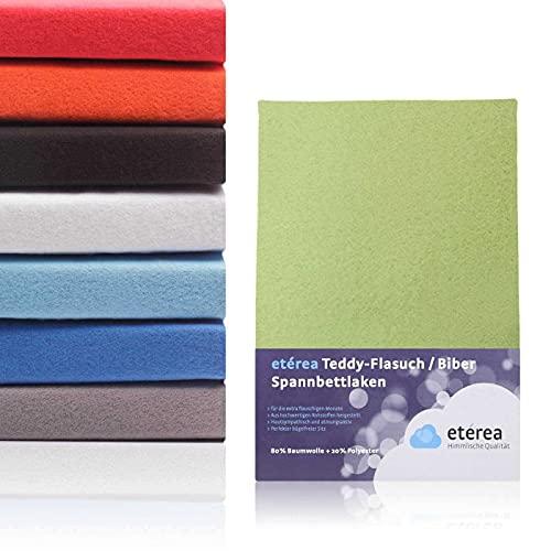 #6 Etérea Teddy Flausch Kinder-Spannbettlaken, Spannbetttuch, Bettlaken, 18 Farben, 60x120 cm - 70x140 cm, Apfelgrün