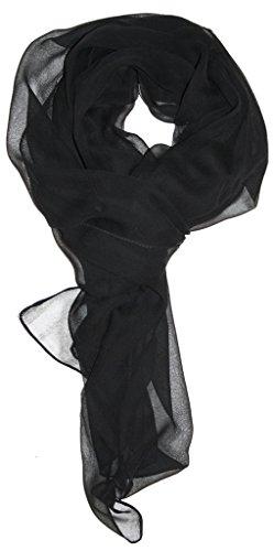 Love Lakeside Modern Chiffon Solid Color Silk Blend Oblong Scarf Black