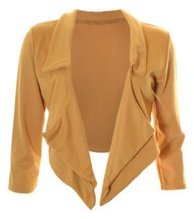 DITZY FASHION Womens Waterfall Blazer Jacket - Mustard - ML 12-14