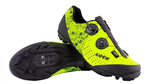 LUCK Zapatillas MTB Galaxy Calaveras. Zapatos Ciclismo Montaña para Hombre y Mujer. Suela de Carbono. Doble Cierre Rotativo ATOP. Calzado Bicicleta MTB (41 EU Ancho)
