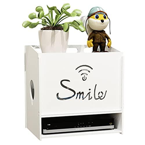 Caja de almacenamiento de enrutador inalámbrico para escritorio, caja WiFi, tablero de artefacto, caja de clasificación de cables (color: blanco, tamaño: 29,4 x 19,5 x 26 cm)