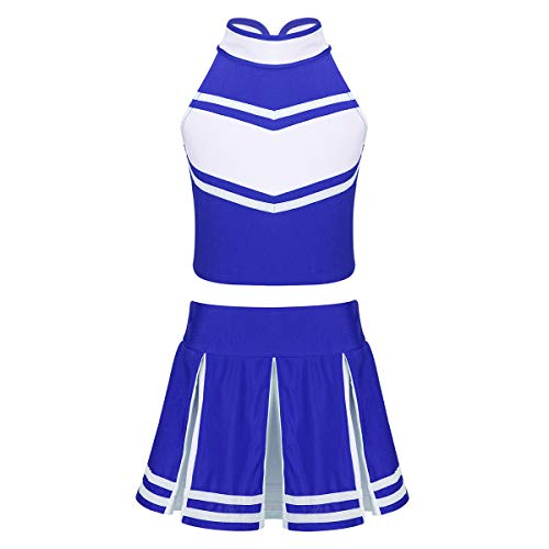 ranrann Kids School Girls Cheer Leader Costume Cheerleading Uniform Zippered Top Pleated Skirt for Student Cosplay Party Blue&White 6