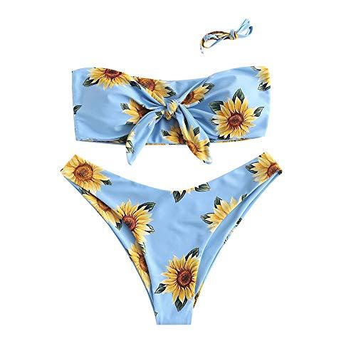 ZAFUL Damen Sexy Sonnenblume Drucken Schnüren Criss Cross Hoher Schnitt Bikini Set Badeanzug H,m