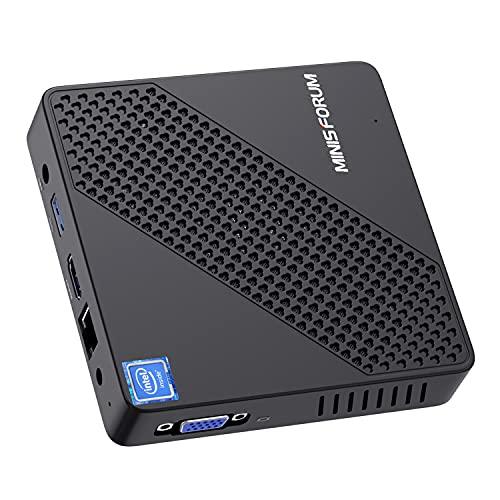 Mini PC Lüfterlos Intel Celeron N4020 (bis zu 2.8 GHz) 4 GB DDR4/64GB eMMC Mini-Desktop-Computer Windows 10 HDMI und VGA-Anschluss 2.4/5.8 G WiFi BT5.0 3xUSB 3.0, M.2 2242 SSD
