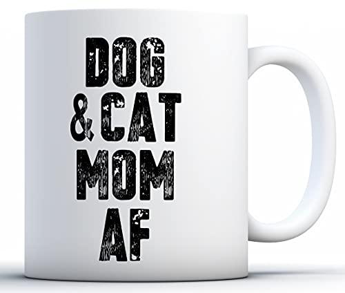 Regalos del día de taza de la mamá taza de la mamá del perro y del gato AF café perro mamá del gato del café Taza divertida de la madre orgullosa mamá de perros y gatos Mom regalos para los amantes de