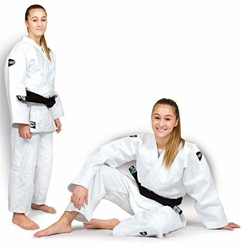 JUDOGI GREEN HILL SEMI COMPETITION ADVANCED 630g/m2 JUDO GI KIMONO BIANCO BLU (Bianco logo nero, 170 Slim Fit)