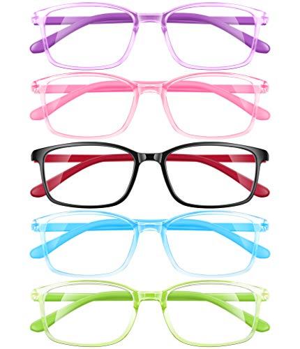 5 Pack Kids AZUZA Kid Blue Light Blocking Glasses 5 Pack, Anti Eyestrain & UV Protection, Computer Gaming TV Phone Glasses for Teens Boy Girls Age 3-14