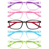 5 Pack AZUZA Kids Blue Light Blocking Glasses UV Protection, Computer Gaming TV Phone Glasses for Teens Boy Girls Age 3-14