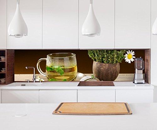 Aufkleber Küchenrückwand Kräutertee Tee Tasse Blumen Margerite Kräuter Küche Folie selbstklebend Dekofolie Fliesen Möbelfolie Spritzschutz 22A680, Höhe x Länge:60cm x 300cm