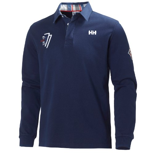Helly Hansen MARSTRAND LS Rugger Polo de Rugby Manches Longues Homme, Evening Blue, FR : S (Taille Fabricant : S)