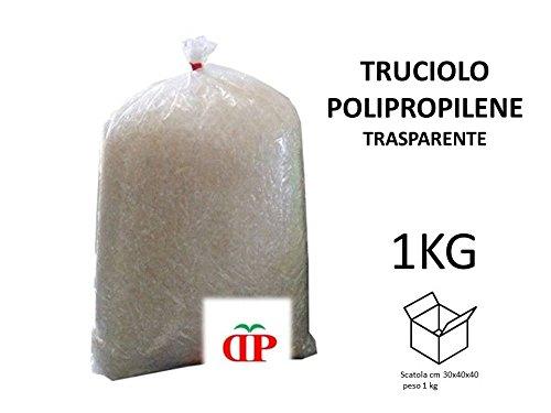 TRUCIOLO POLIPROPILENE TRASPARENTE 1KG Paglia sintetica per ceste natalizie e confezioni regalo