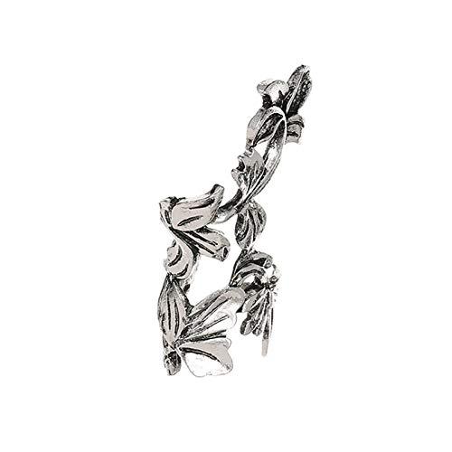 Ruby569y Pendientes colgantes para mujeres y niñas, 1 pieza de moda con forma de hoja en forma de oreja con clip en pendientes no perforantes, plata envejecida