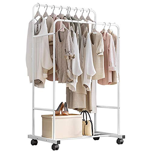 LOVEHOUGE Clothing Rack Coat Rack Metal Garment Rack with 2 Shelves 4 Wheels Bedroom Clothes Organizer with Lower Storage Shelf for Office Home