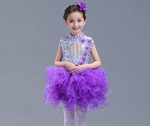 Kinder-Prinzessin Kleid Kinder Latein Kleid Tanz Kleidung Wettbewerb, 130cm, Purple