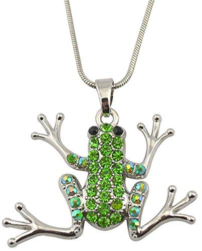 Lemegeton Collar con Colgante de Rana de Cristal Verde para Mujer, niña, Hombre o niño