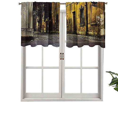 Hiiiman Cenefas de cortina opacas, cortinas cortas con bolsillo para barra de cortina, viejas vacías de ciudad, avenidas con gran luz, juego de 1, 132 x 45 cm para cocina y baño