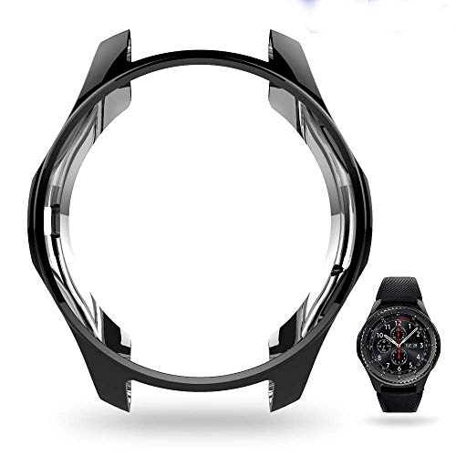 UBOLE Case for SAMSUNG Gear S3, Shock-proof and Shatter-resistant Protective shell TPU Cover Case for Samsung Gear S3 Frontier/Classical and Galaxy Watch 46mm Smartwatch (Black)