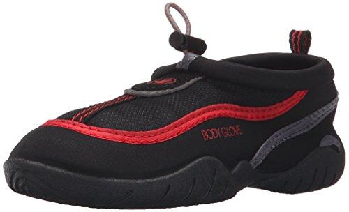 Body Glove Boys' Riptide III-K Aqua Sock, Black/Fiery Red, 11 M US Little Kid