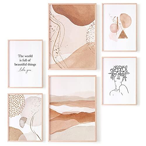 OhBimba Set de Láminas Para Enmarcar Cuadros de Pared - Tamaños de A3 y A4 - Posters Decoración para pared del Hogar, Dormitorio o Salón. Laminas Abstractas Colores Cálidos.