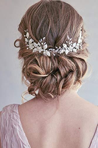 Simsly Brautschmuck für Hochzeit, Haaraccessoire, Ranken, Blume, Silber, Kopfschmuck für Braut auf Hochzeit, Stirnband, Haarschmuck für Frauen und Mädchen
