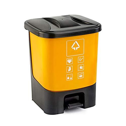 Cubo de Basura Bote de basura de plástico al aire libre Cocina en el hogar tipo pedestal   Parque Recipiente de basura de gran capacidad, ecológico, duradero Contenedor de residuos ( Color : Yellow )