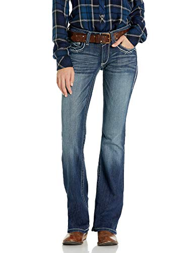 Ariat Women's R.E.A.L. Mid Rise Bootcut Jean, Marine, 28 Regular