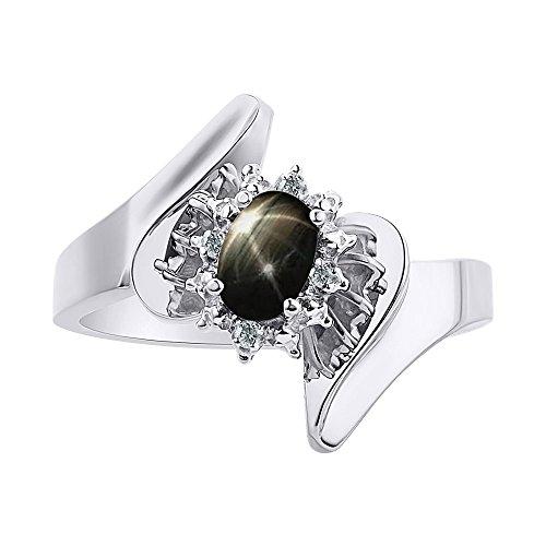 Anillo de zafiro con estrella negra y diamante en oro blanco de 14 quilates – Halo de diamante – piedra de nacimiento de color anillo