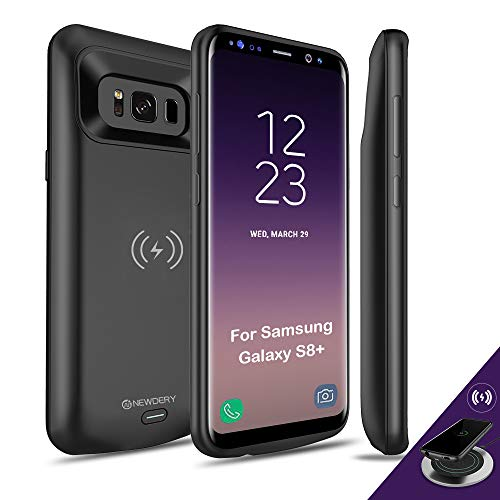 NEWDERY Upgraded Samsung Galaxy S8 Plus Battery Case Qi Wireless Charging Compatible, 5500mAh Slim Rechargeable Extended Charger Case Compatible Samsung Galaxy S8+(2017)-(6.2 Inches Black)