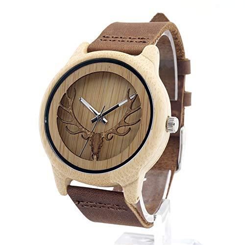 ZHANGZZ Reloj de Madera Hermoso Reloj de Alta Cali Correa de Piel de bambú Reloj, Madera Ciervos marcar Relojes, Relojes de Movimiento japonés for los Hombres y Las Mujeres (Color : 1)