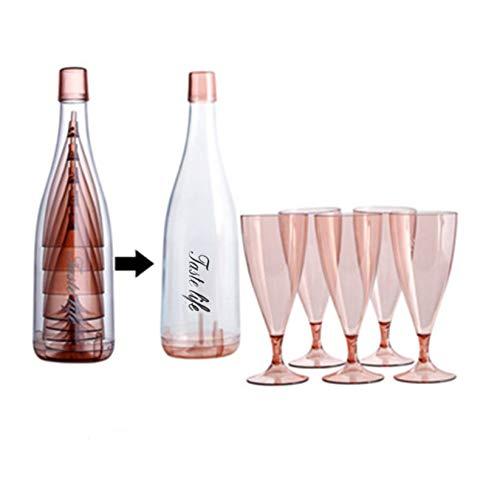 Sekt-Gläser,Sektgläser Plastik Sektkelche Tragbarer,Sektgläser Camping Outdoor Antifragmentiert,Spülmaschinenfeste, Wiederverwendbare Weingläser(1 Weinglasflaschenbehälter,5er Set SektGläser) (Pink)