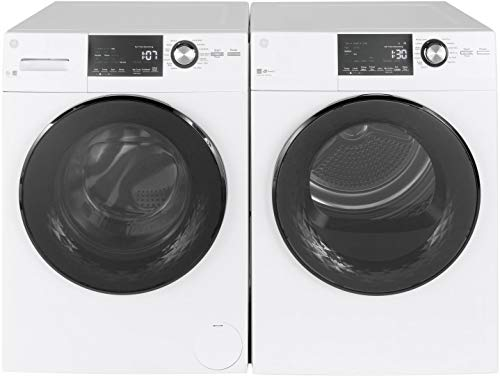 GE Front load Compact GFW148SSMWW 24' Washer with GFD14ESSNWW 24' Electric Dryer Laundry Pair, in White