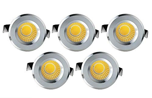 5x FARO FARETTO LED PUNTO LUCE ACCIAIO CIRCOLARE INCASSO 1W NATURALE 4000K [Classe di efficienza energetica A+]