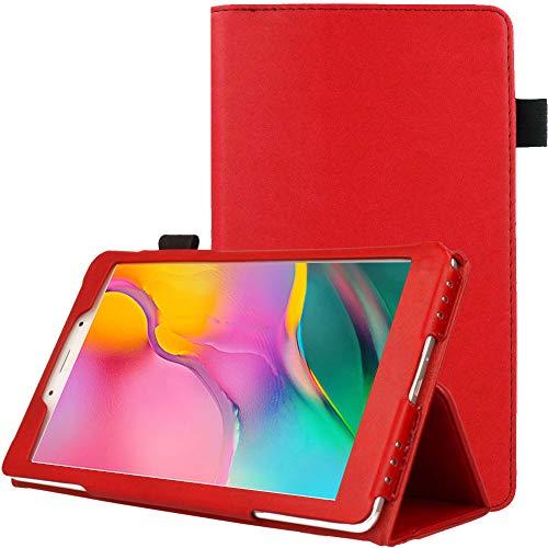 TECHGEAR Custodia in Pelle Designato per Samsung Galaxy Tab A 8.0' 2019 (SM-T290/SM-T295), Custodia Rigida Sottile di Alta qualità in PU Pelle con Supporto e Cinturino a Mano [Rosso]