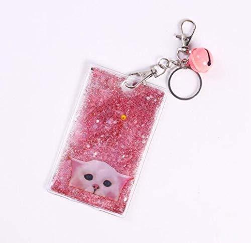 Huien Creative Quicksand roze Girly Fashion Bell Sleutelhanger Sweet Cat Sand Glitter Sleutelhanger Voor Vrouwen meisjes grappig, staar kat