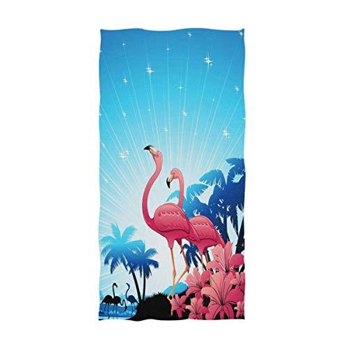 OCEAN AN Hermosas Palmeras Tropicales Flamencos Rosados Imprimen Toallas Suaves y Grandes (15.7'x27.5)