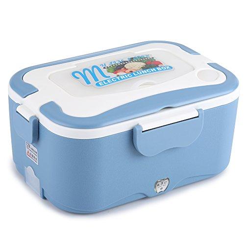 SOULONG 12V/24V Boîte à Lunch Box Chauffante Électrique 1.5L Boîte Déjeuner en Acier Inoxydable Boîte à Repas Pique-Nique Alimentaires Voiture(12V-Bleu)