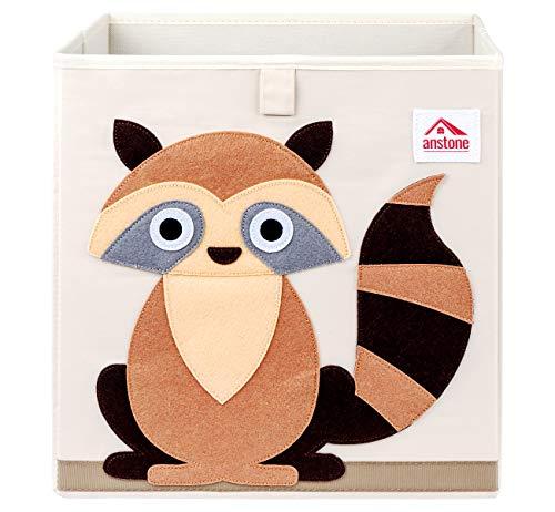 Anstore Aufbewahrungsbox Kinder 33x33x33cm, Spielzeugkiste für Kinderzimmer, Cartoon Faltbar Aufbewahrungswürfel, Korb zur Aufbewahrung von Kinder Spielsachen(Waschbär)