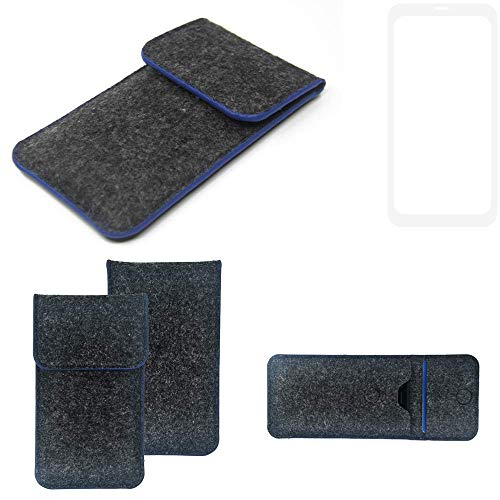 K-S-Trade Handy Schutz Hülle Für Nubia Z18 Schutzhülle Handyhülle Filztasche Pouch Tasche Hülle Sleeve Filzhülle Dunkelgrau, Blauer Rand
