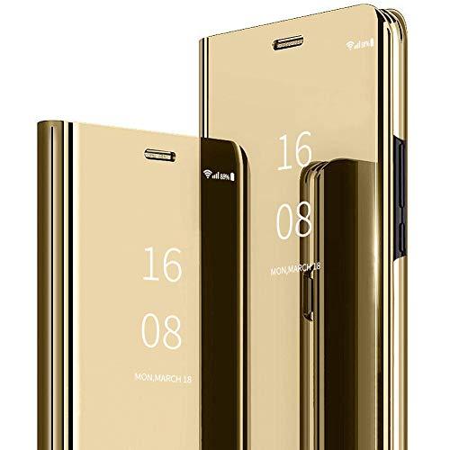 MadBee Coque Galaxy A20E [Film de Protection écran], Smart Mirror Cover en Cuir Flip téléphone Mobile Étui Housse de Protection pour Samsung Galaxy A20E (Or)